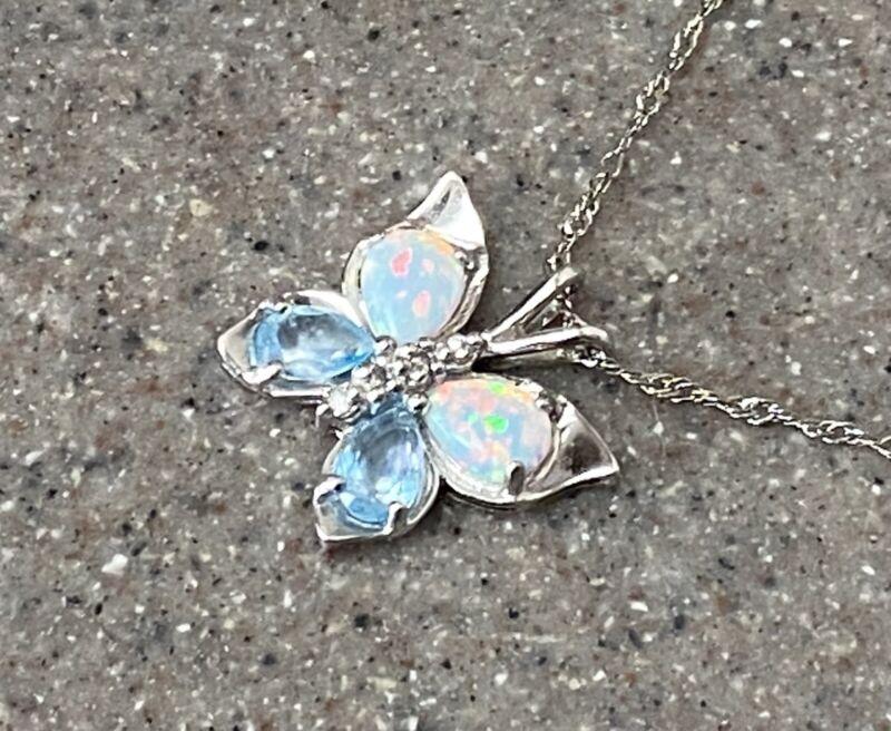 Vintage 10K White Gold Blue Topaz Opal & Diamond Butterfly Pendant Necklace