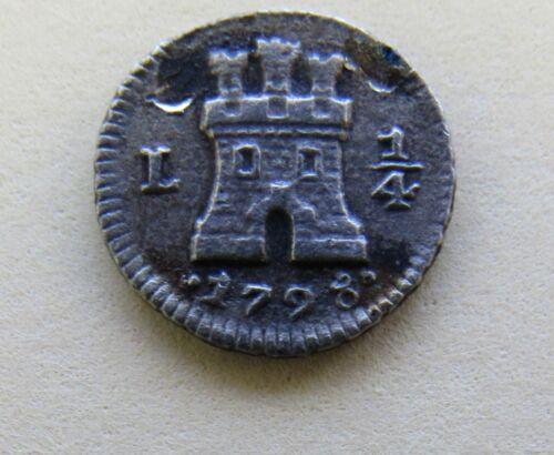 1798 Peru 1/4 Real Silver Coin Castle Lion KM#102.2 South America