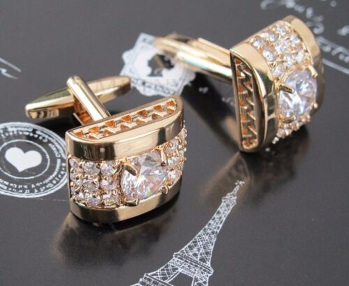 NEW Gold White Crystal Silver Mens Cufflinks Shirt Cuff Links Wedding Party Gift