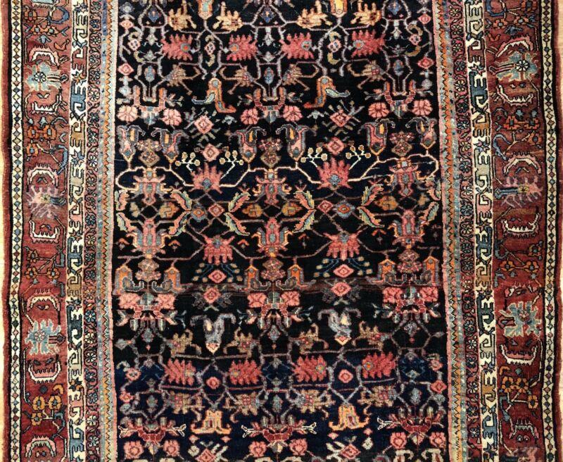 Terrific Tribal - 1920s Antique Oriental Rug - Nomadic Carpet - 4.3 X 7.1 Ft.
