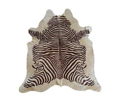 New Brazilian COWHIDE RUG Spine ZEBRA Brown Stripes on Beige 6'x7' Cowhide Rug Brown Zebra Stripe