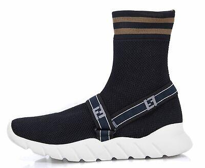 FENDI Black Knit Sock Sneakers Size 8 587745