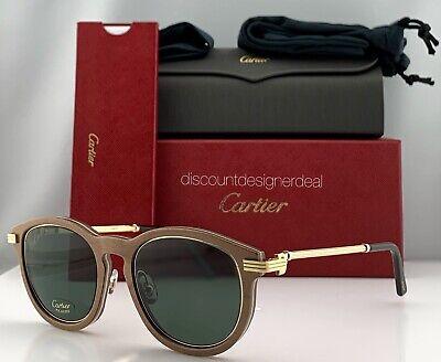 Cartier Première Sunglasses Brown Wood Frame Gold / Green Polarized CT0054S (Cartier Sunglasses Men Wood)