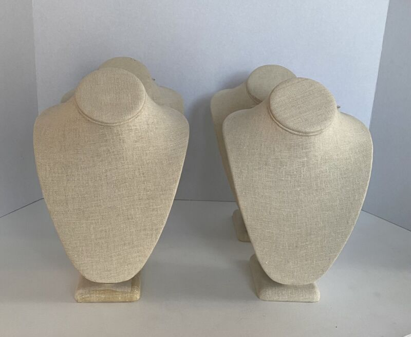 "Set Of 4 Medium Size 11"" Linen Bust Necklace Displays"