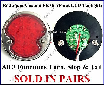 Flat Mount Red LED Taillights Roll Pan Bumper Custom Chevy Pickup Truck F32  2