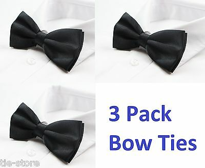 MENS BULK 3 x PACK PLAIN BOW TIE PRE-TIED MEN'S GROOMSMAN WEDDING FORMAL TIES