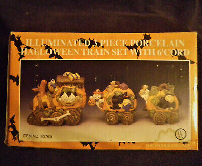 Halloween 3 Piece Train Bradford No. 90765 Illuminated Porcelain Christmas Set