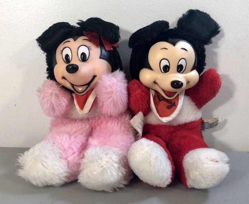 Vintage Walt Disney Productions Mickey & Minnie Mouse Stuffed Animal Lot RARE!
