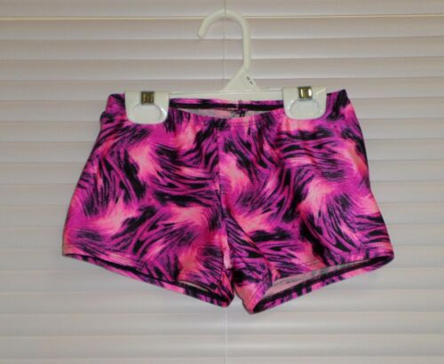 GIRLS SIZE 8-10 DANCE SHORTS PINK Tie dye with BLACK