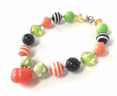 Halloween Bubblegum Necklace (Girl's Pumpkin Halloween Chunky Bubblegum Necklace Jewelry Beads Toddler)