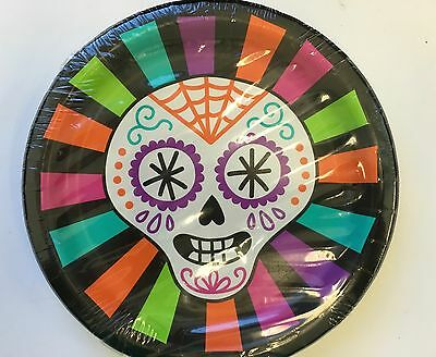 Halloween Party Plates (Day of the Dead Small Luncheon Plates Party Supplies Tableware Halloween 8)