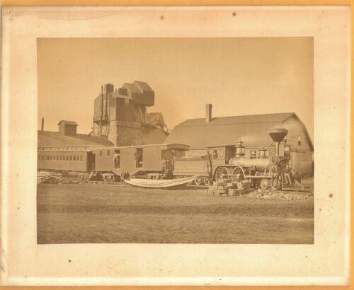 C 1880s Katahdin Ironworks w Locomotive Full Plate Albumen Photo