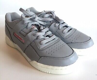 Reebok Mens US 6 Gray Leather Workout Plus Classic Sneaker