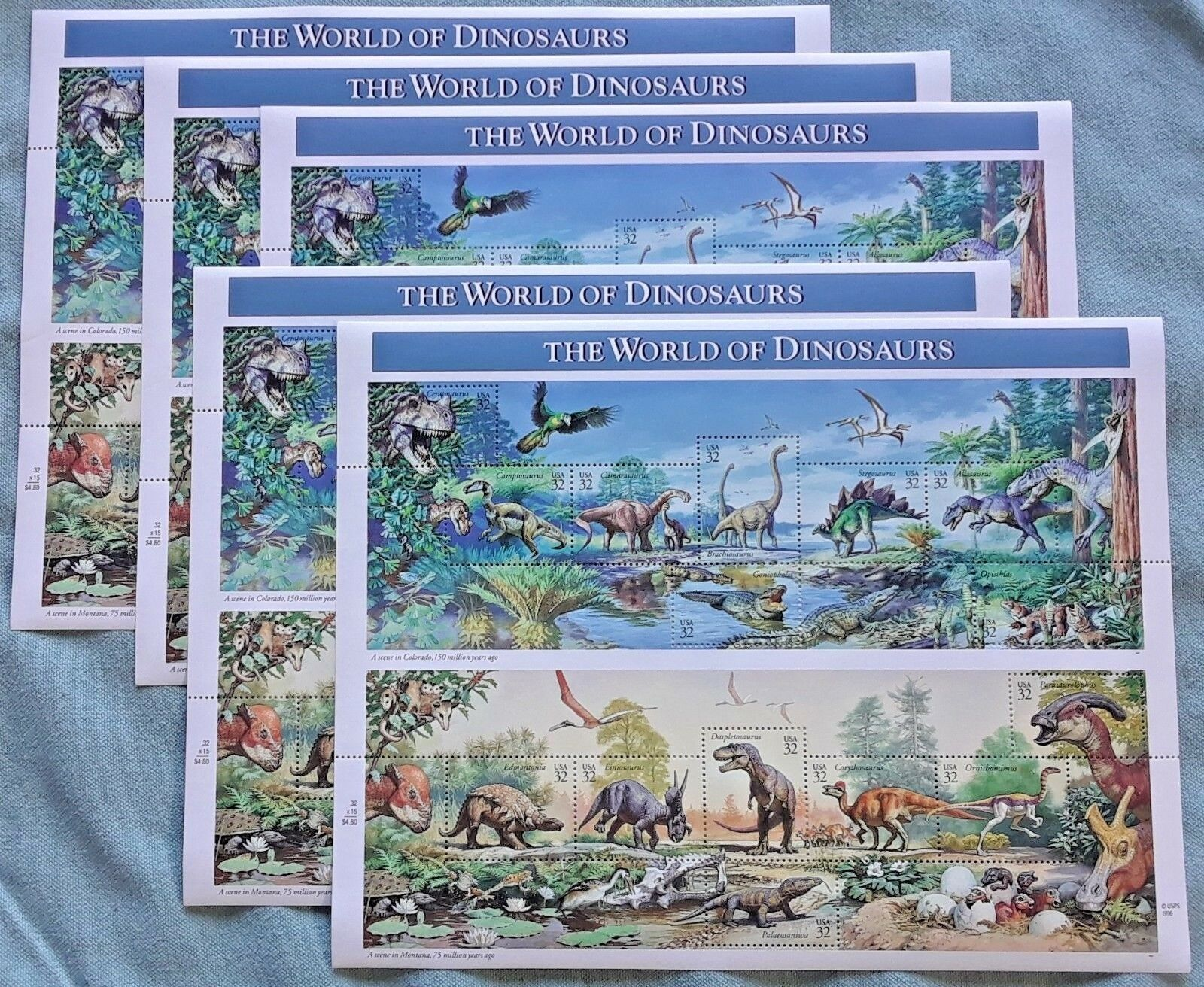 Five Sheets x 15 = 75 THE WORLD OF DINOSAURS 32 ¢ US PS Postage Stamps. Sc# 3136