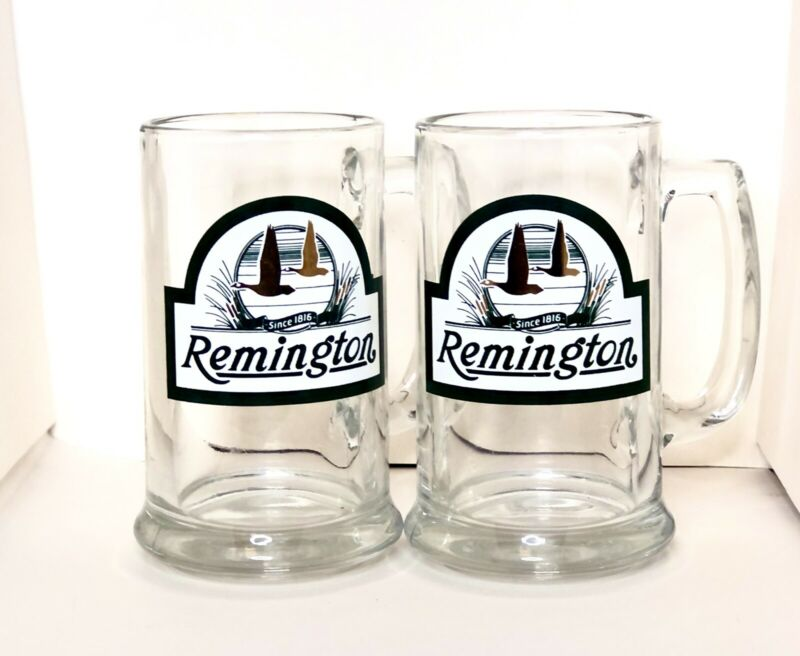 Set Of Two Remington Glass Mugs