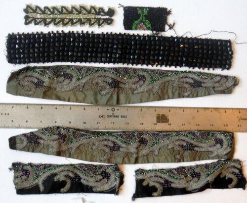 Vintage Antique Lot of Beaded Trim Pieces 1920s 1930s P1496