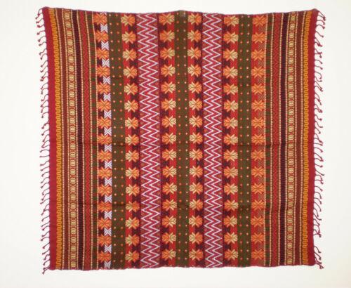 "EUC Vintage Hand Loomed COTTON Mayan GUATEMALAN TABLECLOTH Textile 38"" Sq"