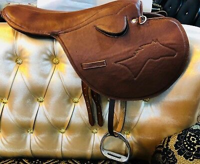 Western Riding Horse Saddle Tack Stirrups Wade Trail Leather Roping Farm