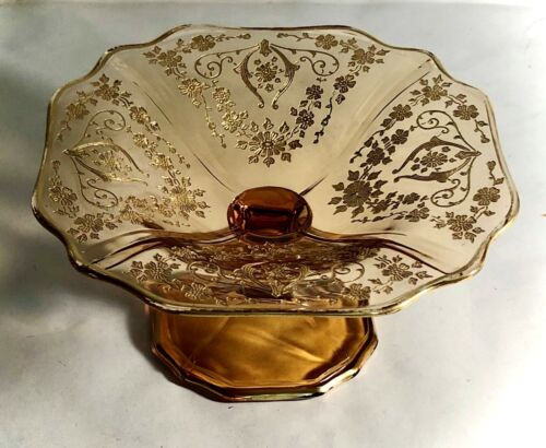 "Cambridge Amber Diane With Gold Overlay 3"" Compote"