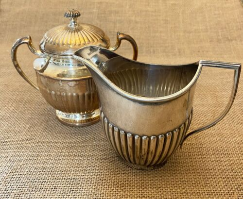 VINTAGE BENETFINK & CO SILVER PLATE CREAMER and SILVER PLATE SUGAR BOWL