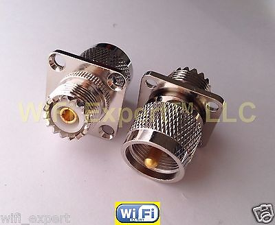 UHF PL259 MALE to UHF SO239 Female in series flange mount RF Connector (Female Flange)
