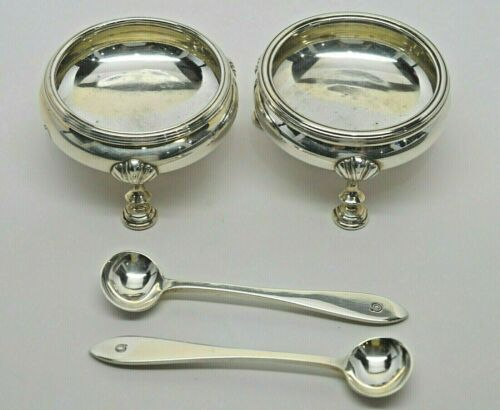 Pair of Personalized Tiffany & Co. Sterling Silver Salt Vessels w/Spoons