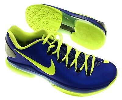 NIKE Men's 'KD V ELITE SUPERHERO' Blue/Green LOW TOP BASKETBALL SNEAKER - US 9.5