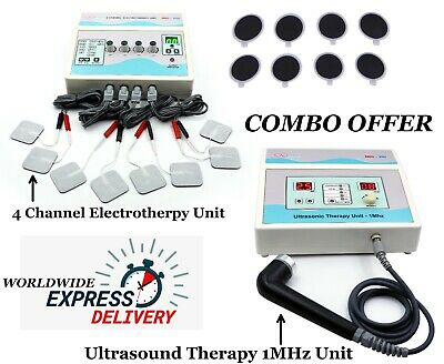 Ultrasound Therapy 1mhz Machine 4 Channel Electrotherapy Pain Relief Combo Unit