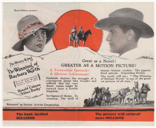 THE WINNING OF BARBARA WORTH 1926 RONALD COLMAN Silent Film Western MOVIE HERALD
