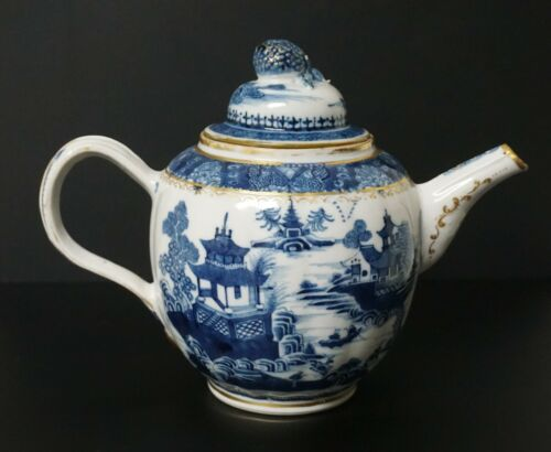 Chinese Export Blue White Nanking Porcelain Tea Pot Teapot