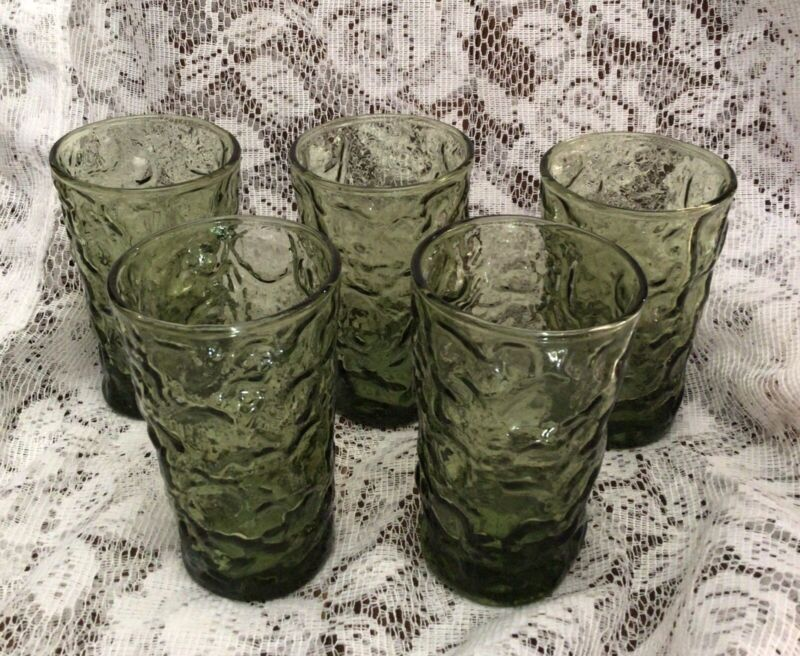 MCM Vintage Anchor Hocking Lido Milano Green Crinkle Glass Juice Set of 5
