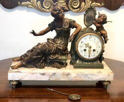 19thC French  Bronze/Spelter On Marble Base Mantel Clock