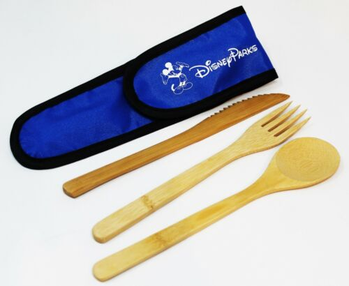 Disney Parks Mickey Reusable Bamboo Utensil Cutlery Set Fork Spoon Knife + Pouch