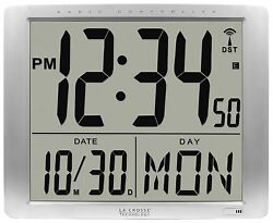 BBB87269 La Crosse Technology Jumbo 7 Time Display Atomic Digital Wall Clock