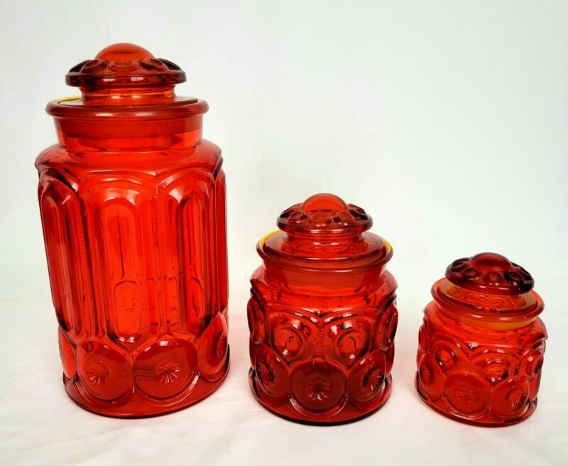 Vintage LE Smith Moon and Stars Red Glass Canister Jars set of 3 EUC L.E. MCM