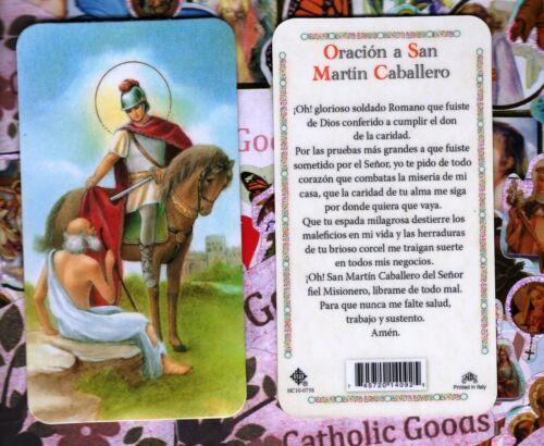 Oracion a San Martin Caballero - Spanish - Plastic Holy Card