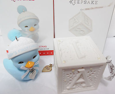 HALLMARK 2015 Baby Boy's First Christmas Lot of 2 Blue Duck & ABC Block NEW