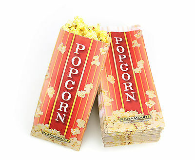 100 Popcorn Serving Bags, Pinch Bottom Paper Bag Style (Paper Popcorn Bags)