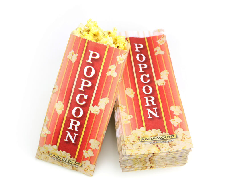 100 Popcorn Serving Bags, Pinch Bottom Paper Bag Style