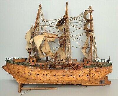 Vecchio galeone veliero in legno circa 1 metro arredo marino collezione navale
