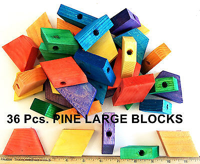 Large Colored wood wood blocks parrot bird parts cage toy african grey cockatoo