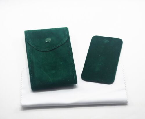 Green Velvet Watch Pouch w/ Premium Microfiber Fits Rolex and Others