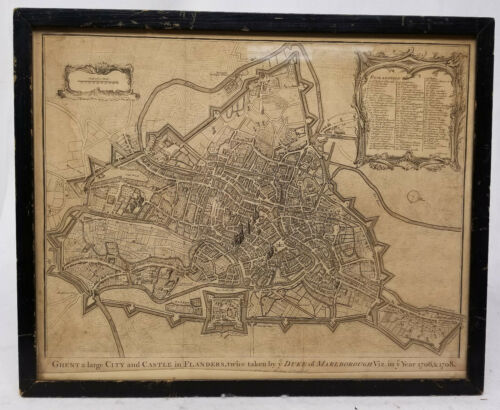 Antique Early European Map Print City of Ghent Flanders Isaac James Basire