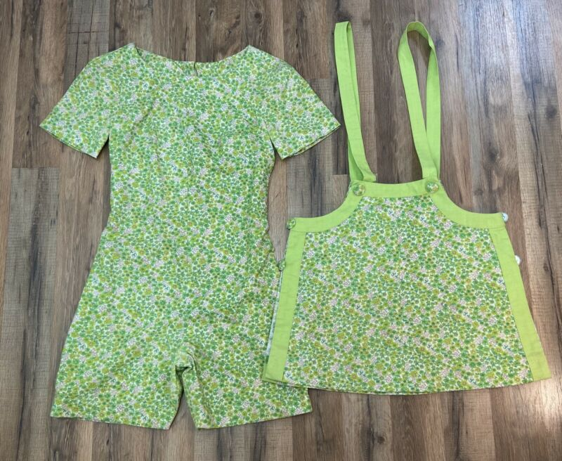 Vintage Handmade 1970's Retro Lime Green Floral Romper & Jumper Apron Small