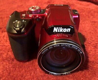 Nikon Coolpix B500 Wi-Fi Digital Camera Red+16gb Memory Card