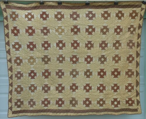 Nice  Antique 19th Century Patchwork Quilt, Warm Colors, Hand stitched