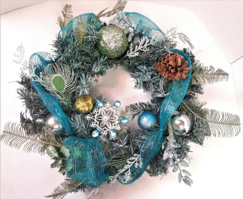 """Teal 20"""" Christmas Wreath Peacock Colors Glitter Ribbon Holiday Ornaments w/Tag"""