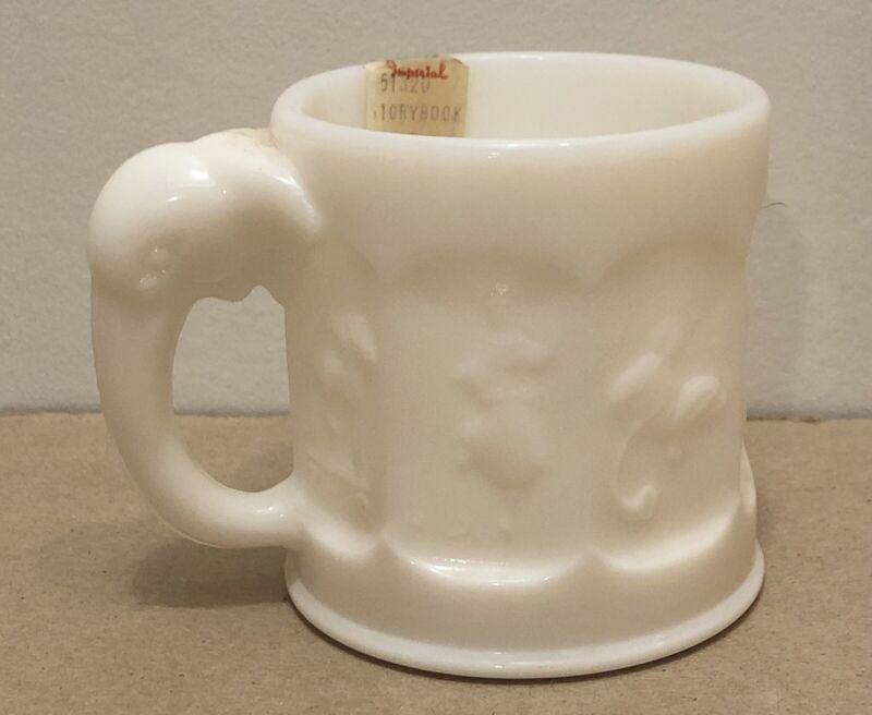 Vintage Heisey Elephant Handle Imperial White Milk Glass Storybook Mug