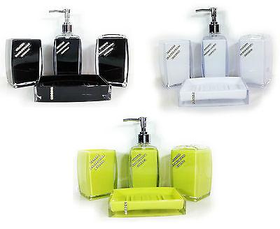 - Bathroom Accessory Set 4piece Diamante SQUARE brush soap holder dispenser tumble