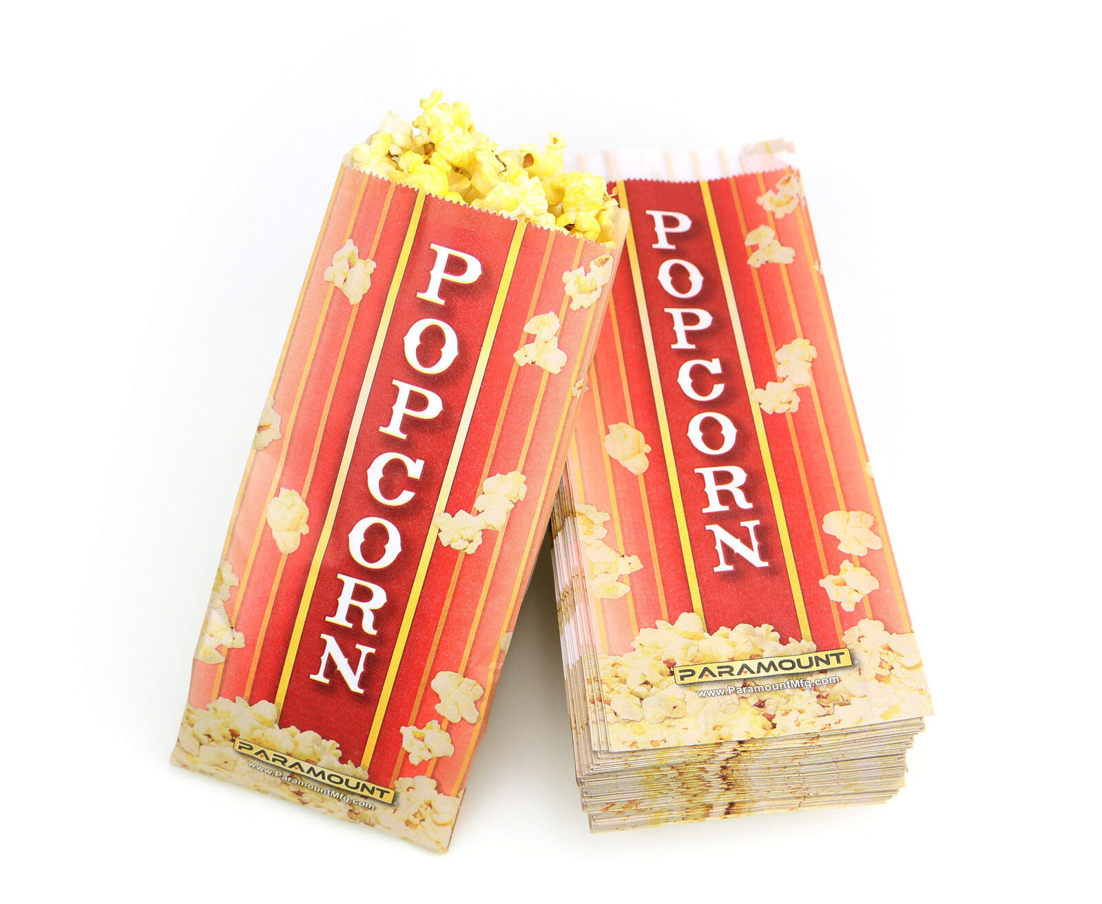 500 Popcorn Serving Bags, Pinch Bottom Paper Bag Style